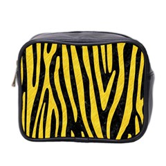 Skin4 Black Marble & Yellow Colored Pencil Mini Toiletries Bag 2 Side by trendistuff