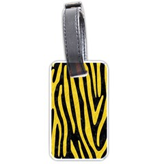 Skin4 Black Marble & Yellow Colored Pencil Luggage Tags (one Side)  by trendistuff