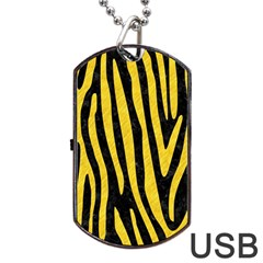 Skin4 Black Marble & Yellow Colored Pencil Dog Tag Usb Flash (two Sides) by trendistuff