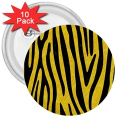 Skin4 Black Marble & Yellow Colored Pencil (r) 3  Buttons (10 Pack)
