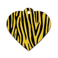 Skin4 Black Marble & Yellow Colored Pencil (r) Dog Tag Heart (one Side) by trendistuff