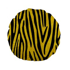 Skin4 Black Marble & Yellow Colored Pencil (r) Standard 15  Premium Flano Round Cushions by trendistuff
