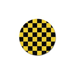 Square1 Black Marble & Yellow Colored Pencil Golf Ball Marker by trendistuff