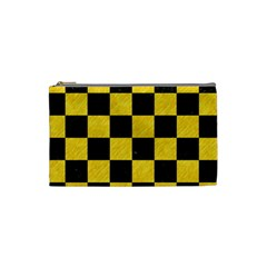 Square1 Black Marble & Yellow Colored Pencil Cosmetic Bag (small)  by trendistuff
