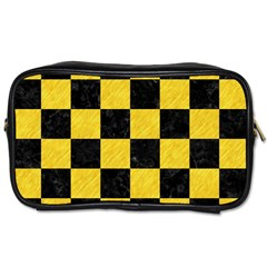 Square1 Black Marble & Yellow Colored Pencil Toiletries Bags by trendistuff