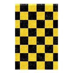 Square1 Black Marble & Yellow Colored Pencil Shower Curtain 48  X 72  (small)  by trendistuff