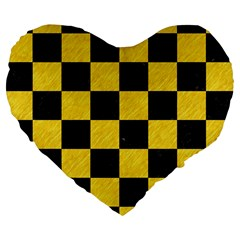 Square1 Black Marble & Yellow Colored Pencil Large 19  Premium Flano Heart Shape Cushions by trendistuff