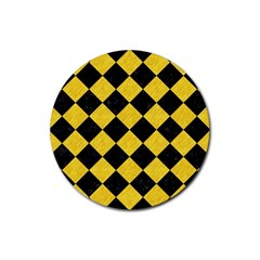 Square2 Black Marble & Yellow Colored Pencil Rubber Coaster (round)  by trendistuff