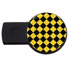 Square2 Black Marble & Yellow Colored Pencil Usb Flash Drive Round (4 Gb) by trendistuff