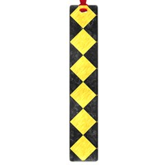 Square2 Black Marble & Yellow Colored Pencil Large Book Marks by trendistuff