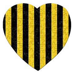 Stripes1 Black Marble & Yellow Colored Pencil Jigsaw Puzzle (heart) by trendistuff