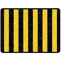 Stripes1 Black Marble & Yellow Colored Pencil Double Sided Fleece Blanket (large)  by trendistuff