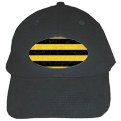 Stripes2 Black Marble & Yellow Colored Pencil Black Cap by trendistuff
