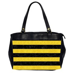 Stripes2 Black Marble & Yellow Colored Pencil Office Handbags (2 Sides)  by trendistuff