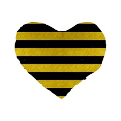 Stripes2 Black Marble & Yellow Colored Pencil Standard 16  Premium Heart Shape Cushions