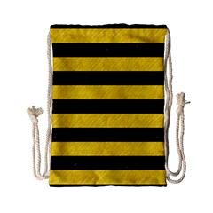 Stripes2 Black Marble & Yellow Colored Pencil Drawstring Bag (small) by trendistuff