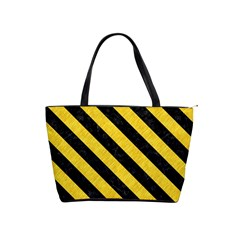 Stripes3 Black Marble & Yellow Colored Pencil Shoulder Handbags by trendistuff