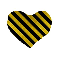 Stripes3 Black Marble & Yellow Colored Pencil Standard 16  Premium Heart Shape Cushions by trendistuff