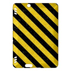 Stripes3 Black Marble & Yellow Colored Pencil Kindle Fire Hdx Hardshell Case by trendistuff