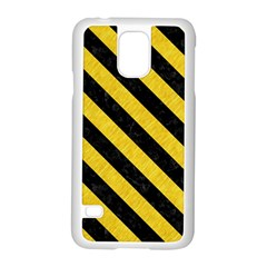 Stripes3 Black Marble & Yellow Colored Pencil Samsung Galaxy S5 Case (white) by trendistuff