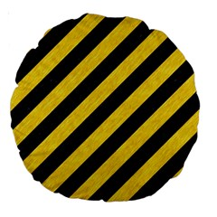Stripes3 Black Marble & Yellow Colored Pencil (r) Large 18  Premium Round Cushions by trendistuff
