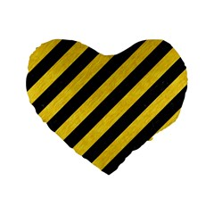 Stripes3 Black Marble & Yellow Colored Pencil (r) Standard 16  Premium Heart Shape Cushions by trendistuff