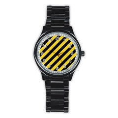 Stripes3 Black Marble & Yellow Colored Pencil (r) Stainless Steel Round Watch by trendistuff