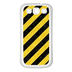 Stripes3 Black Marble & Yellow Colored Pencil (r) Samsung Galaxy S3 Back Case (white)