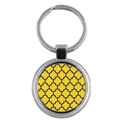Tile1 Black Marble & Yellow Colored Pencil Key Chains (round)