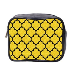 Tile1 Black Marble & Yellow Colored Pencil Mini Toiletries Bag 2 Side by trendistuff