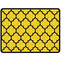 Tile1 Black Marble & Yellow Colored Pencil Double Sided Fleece Blanket (large)  by trendistuff