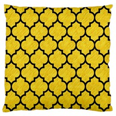 Tile1 Black Marble & Yellow Colored Pencil Large Flano Cushion Case (one Side) by trendistuff