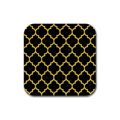Tile1 Black Marble & Yellow Colored Pencil (r) Rubber Square Coaster (4 Pack)  by trendistuff