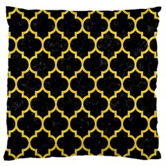 Tile1 Black Marble & Yellow Colored Pencil (r) Large Flano Cushion Case (two Sides) by trendistuff