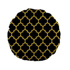 Tile1 Black Marble & Yellow Colored Pencil (r) Standard 15  Premium Flano Round Cushions by trendistuff