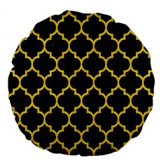 Tile1 Black Marble & Yellow Colored Pencil (r) Large 18  Premium Flano Round Cushions by trendistuff