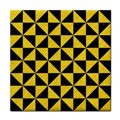 Triangle1 Black Marble & Yellow Colored Pencil Tile Coasters by trendistuff
