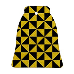 Triangle1 Black Marble & Yellow Colored Pencil Ornament (bell) by trendistuff
