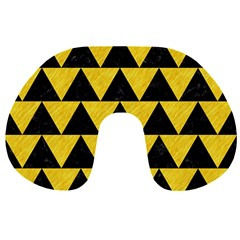 Triangle2 Black Marble & Yellow Colored Pencil Travel Neck Pillows by trendistuff