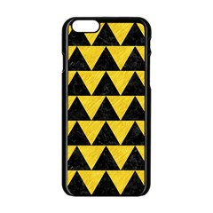 Triangle2 Black Marble & Yellow Colored Pencil Apple Iphone 6/6s Black Enamel Case by trendistuff