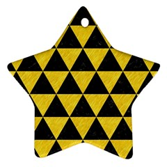 Triangle3 Black Marble & Yellow Colored Pencil Star Ornament (two Sides) by trendistuff