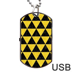Triangle3 Black Marble & Yellow Colored Pencil Dog Tag Usb Flash (two Sides) by trendistuff
