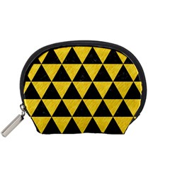 Triangle3 Black Marble & Yellow Colored Pencil Accessory Pouches (small)  by trendistuff