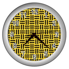 Woven1 Black Marble & Yellow Colored Pencil Wall Clocks (silver)  by trendistuff