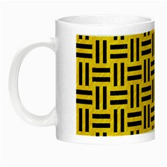 Woven1 Black Marble & Yellow Colored Pencil Night Luminous Mugs by trendistuff
