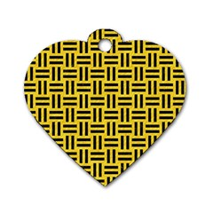 Woven1 Black Marble & Yellow Colored Pencil Dog Tag Heart (one Side) by trendistuff