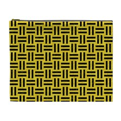 Woven1 Black Marble & Yellow Colored Pencil Cosmetic Bag (xl) by trendistuff