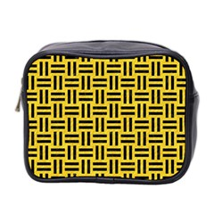 Woven1 Black Marble & Yellow Colored Pencil Mini Toiletries Bag 2 Side by trendistuff