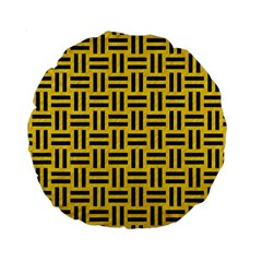 Woven1 Black Marble & Yellow Colored Pencil Standard 15  Premium Round Cushions by trendistuff