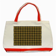 Woven1 Black Marble & Yellow Colored Pencil (r) Classic Tote Bag (red) by trendistuff